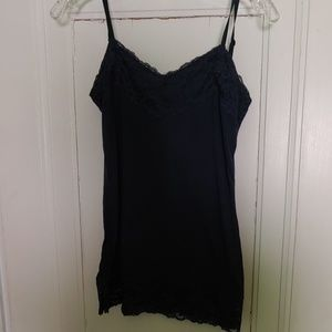Navy blue tank top with wide lace trim